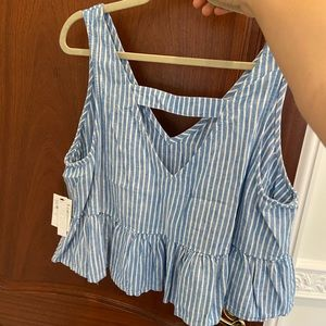 NWT blue and white stripe tank with open back